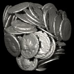 Image of internal coins from the complete pot with the exterior pot removed