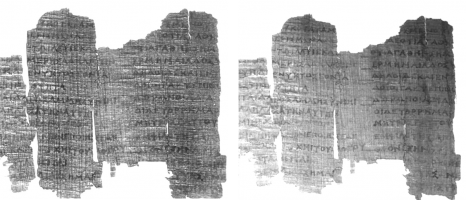 Derveni Papyrus fragemnt RTI visualization. Comparison of renderings in visible (left) and IR spectral area (right)